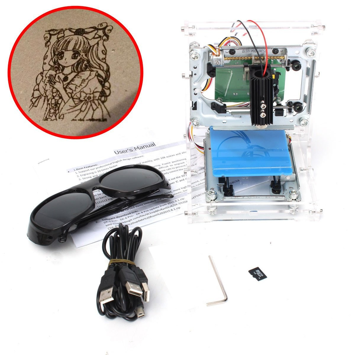 High Quality New Woodworking Engraving Machine  JZ-5 500mW USB DIY Laser Printer Engraver Laser Engraving Machine 38 x 38mm high quality photo 2d 3d crystal mugs ring shoe design laser engraving machine price for portrait printing