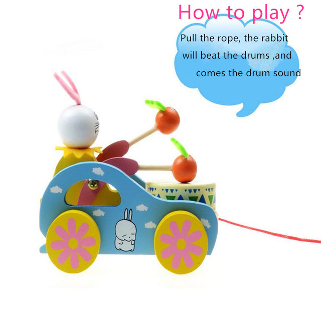 1X Pulling Cart Wooden Cute Kid Rabbit Beating Drum Educational Toy for Children Toddler Funny For Kid To Playing