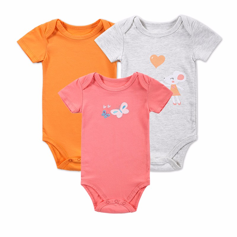 3 PCSLOT Baby Boy Clothes Newborn Baby Bodysuit Short Sleeved Cotton Baby Romper Toddler Underwear Infant Clothing Baby Outfit (1)