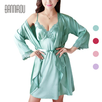 Woman Robe Set Faux Silk Satin Sexy Embroidered Full Loose Solid Pink Green Red Female Bathrobe Two Piece Suit Spring Autumn New