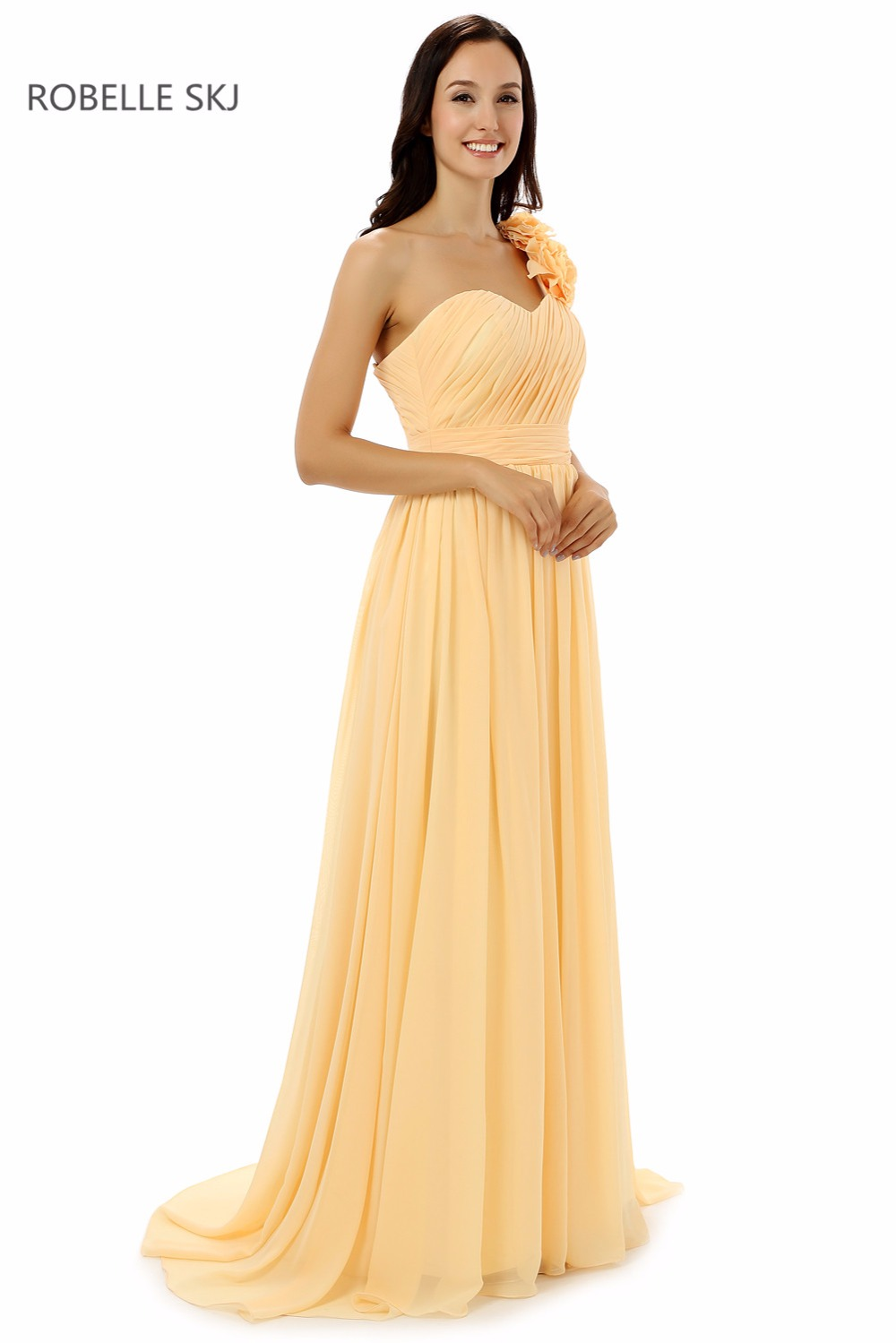 Aliexpress buy real photo one shoulder chiffon colored aliexpress buy real photo one shoulder chiffon colored bridesmaid dresses long prom dress junior bridesmaid dress with pleats and flowers from ombrellifo Choice Image