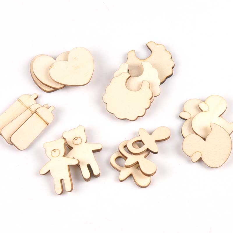 Mixed Bear/pacifier/duck/bib Unfinished Wooden Ornament For Kid Paint Scrapbooking DIY Carfts Wood Home Decor Arts 20pcs M2152