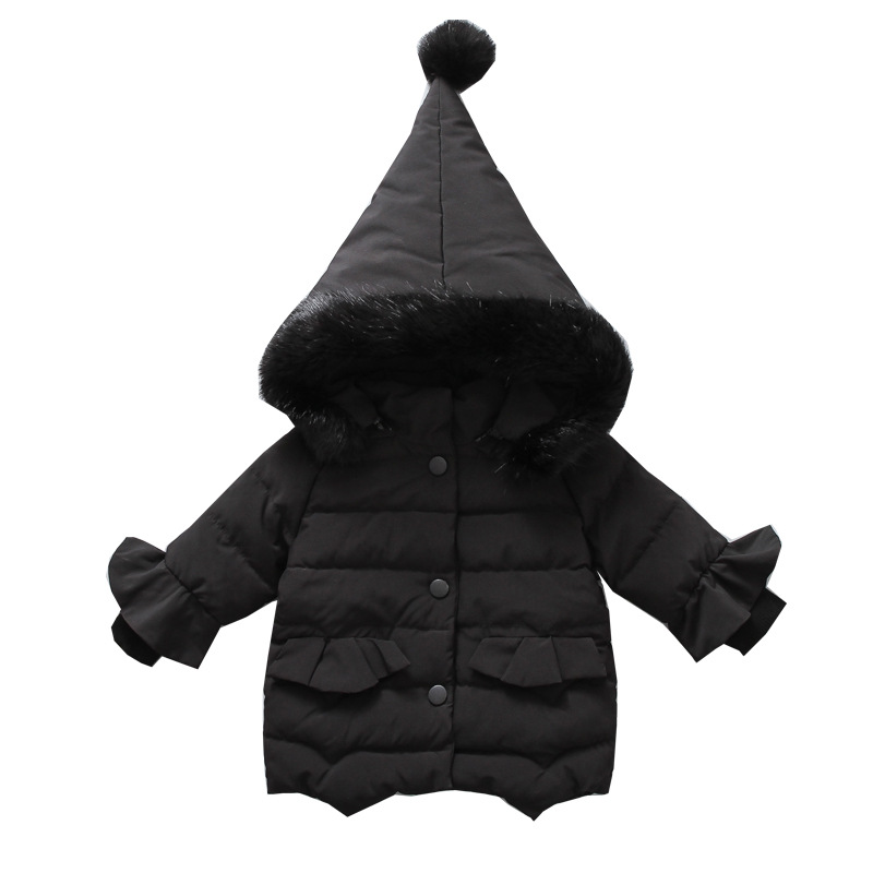 JKP 2018 Children's winter new girl's cotton pointy hat lace fur collar children's cap thick cotton jacket fashion coats MF-307 цены