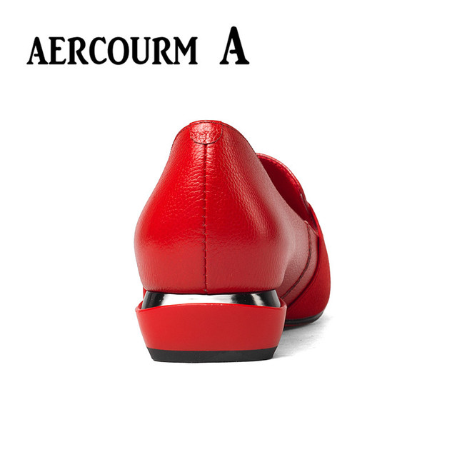 Aercourm A 2019 Women Genuine Leather Shoes Low Heel Women Shoes Heel Black Shoes Office Lady Sexy Party Shoes Big Size 34-43