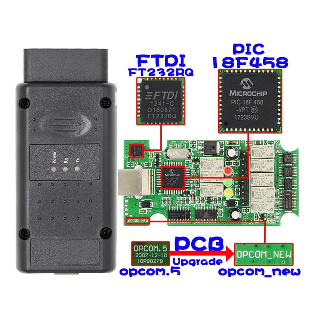 Djsona 2018 op com para opel v1.70 obd2 OP-COM scanner de diagnóstico do carro real pic18f458 opcom para opel carro ferramenta de diagnóstico flash abeto