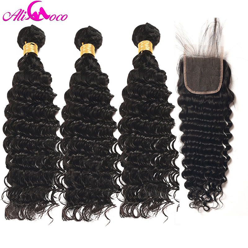 Ali Coco Brazilian Deep Wave 3 Bundles With Closure 100% Human Hair Bundles With Baby Closure 4*4 Non Remy Hair Extensions