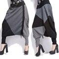 2017 calças Casuais calças largas para as mulheres feminino listrado patchwork hop pantsfree tamanho