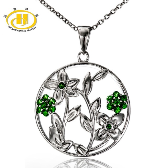 Hutang 100 natural chrome diopside solid 925 sterling silver flower hutang 100 natural chrome diopside solid 925 sterling silver flower pendant necklace fine hutang jewelry aloadofball Choice Image