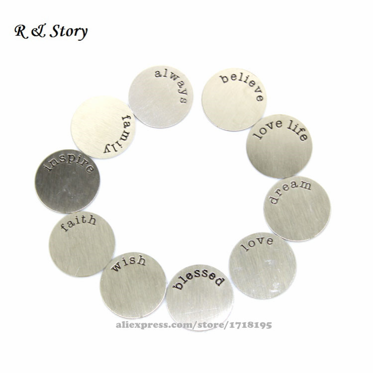 New Arrival 316L Stainless Steel 12mm Floating Locket Plate Mixed Word Charms for living floating locket LFP_155