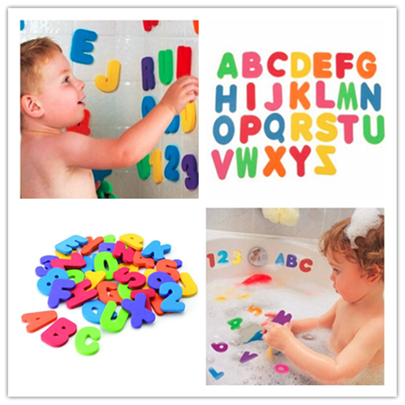 36Pcs Baby Bath Toys Soft Foam Letters Numbers Bath Alphanumeric Foam Classic Baby Early Educational Tools Kids Bathing Toy