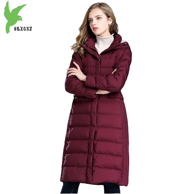 High-quality women winter down cotton Jacket coat Long style parkas Hooded thick warm Jacket Plus size Slim Outerwear OKXGNZ1097 women s winter jacket hooded thick warm parkas cartton solid high quality cotton coat manteau femme hiver plus size l 4xl dj29