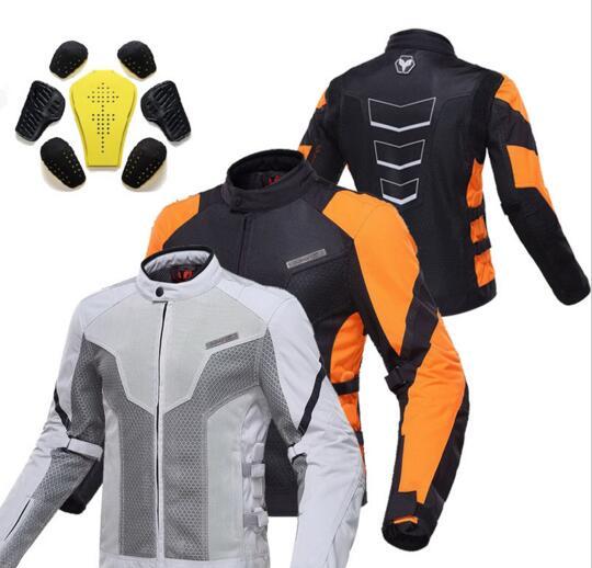 Été DUHAN moto moto rcycle équitation réfléchissant veste de sécurité moto rbike cyclisme hommes chaqueta moto robe orange gris M L XL XXL