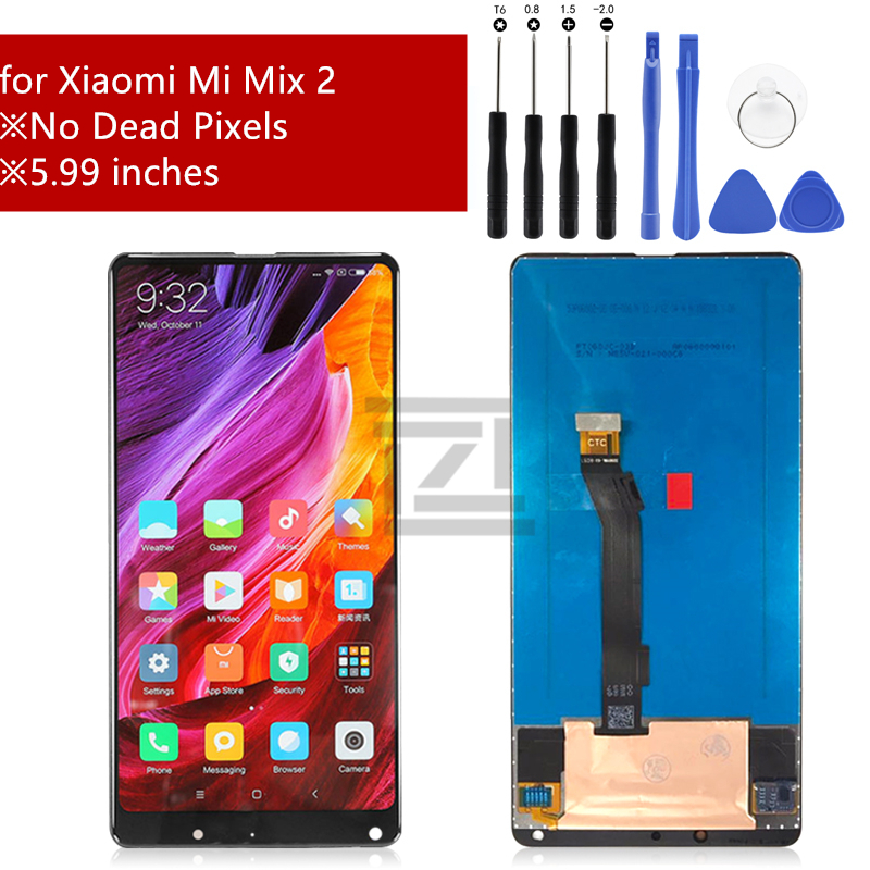 For Xiaomi Mi Mix 2 lcd display touch screen Digitizer Assembly screen Replacement for Xiaomi Mi Mix 2 with frame Repair Parts(China)