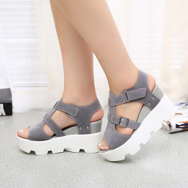 2018 Летние босоножки женская повседневная обувь на высоком каблуке обувь Вьетнамки с открытым носком сандалии-гладиаторы на платформе женская обувь y48w