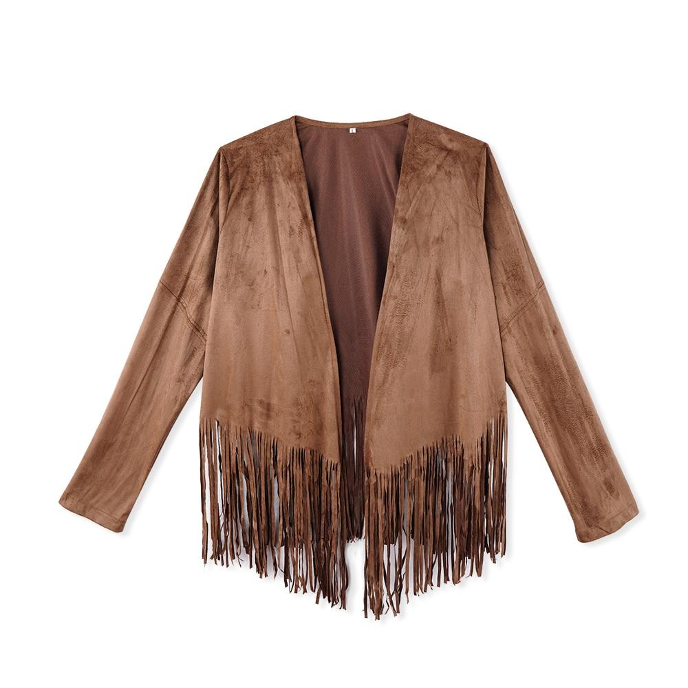 Suede Tassel Long Sleeve   Jacket   Women Coat Outwear Fashion V-neck Open-Stitch Casual Coat Spring Thin   Basic     Jackets
