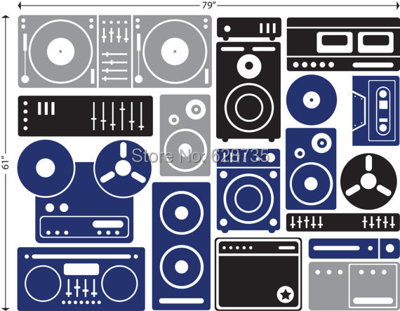 XcmExtralargeMusicEquipmentWallArtDecorStickersCustomVinyl WallStickerMusicfreeshippingjpg - Custom vinyl wall decal equipment