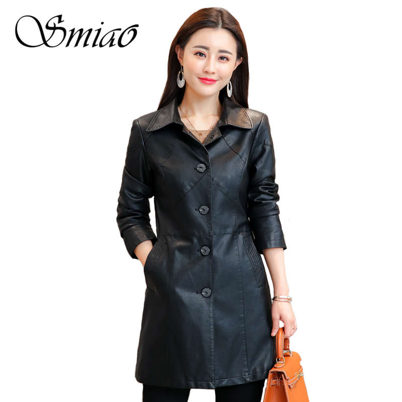 Smiao 2018 Autumn Winter Female   Leather   Jacket Winter Long Black Faux   Leather   Coat Female Long Trench Coat Basic Jacket M-4XL