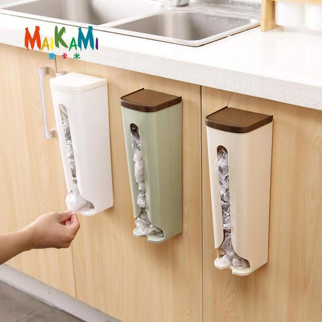 MAIKAMI 1pcs Wall Mount Container Garbage Bag Storage Box Kitchen Bedroom Bathroom Storage Holder Organizer Casket : storage boxes bedroom  - Aquiesqueretaro.Com