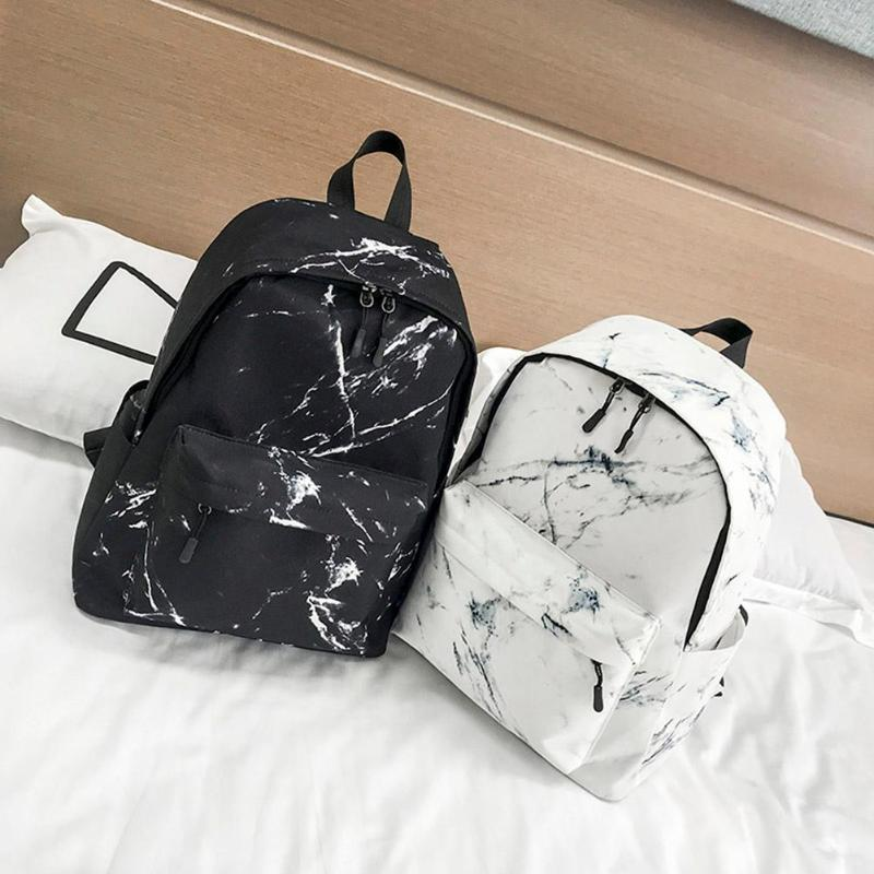 Women Backpack Fashion Marble Stone Print School Bag Teenager Canvas Rucksack Girls School Student Casual Travel Shoulder Bag