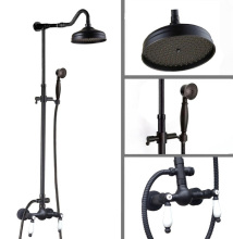 Wall-mount Black Oil Rubbed Brass Bathroom Bath Rain-style Shower Faucet Mixer Tap Set  ars774
