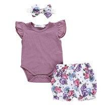 Новые летние модные новорожденных Комплект детской одежды для маленьких девочек на каждый день, комбинезон+ Цветочный принт шорты Z4
