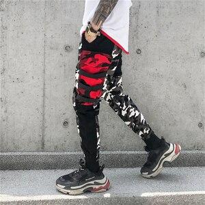 Image 2 - צבע בלוק טלאים Camo מכנסיים אצן גברים של 2018 חדש ירך ירך Streetwear מטען מכנסיים מותג מעצב Hiphop מכנסיים WS172