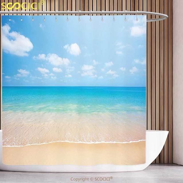 Funky Shower Curtain Ocean Decor Dreamy Hot Tropical Sea Coast With Soft Waves And Sunny Bright
