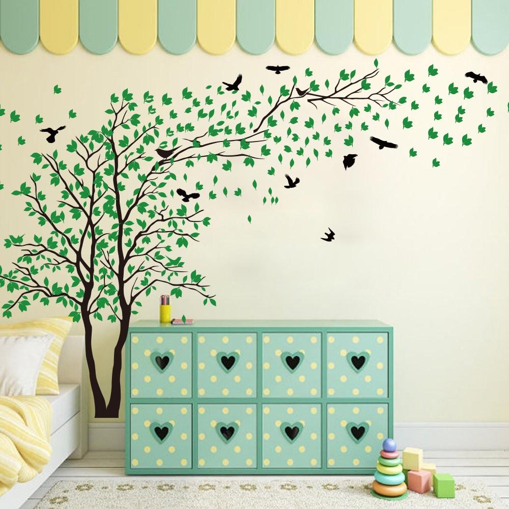 Grand arbre feuilles oiseaux mur autocollant chambre salon faune Nature paysage arbre plante Animal mur Sticker pépinière vinyle