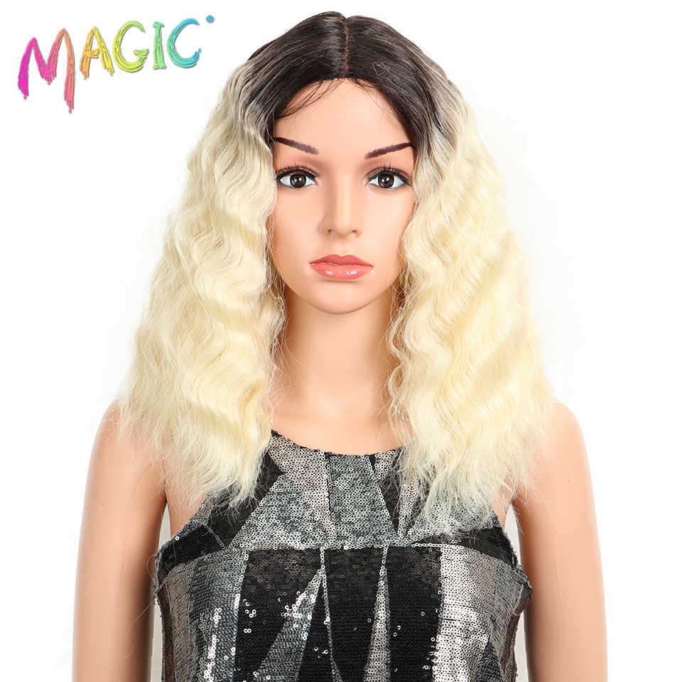 """Magie Haar 16 """"Zoll Hohe Temperatur Faser Haar Omber 613 Welliges Haar Tiefe Wellenförmige Perücken Rosa Synthetische Spitze Front perücke Für Schwarze Frauen"""
