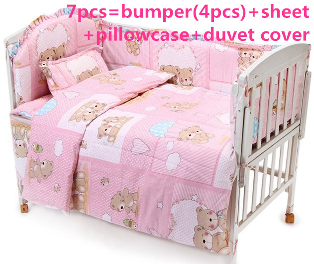 Promotion! 6PCS Pink Baby bedding set character bed around sheet Children bedding sets ,include (bumpers+sheet+pillowcase)