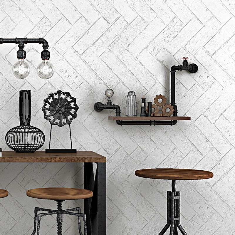 3d Geomemtric White Modern Vintage Chevron Wood Wallpaper