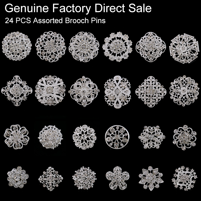 24 Pieces Mixed Wholesale Crystal Rhinestones Flower Brooches For