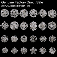 24 Pcs Crystal Rhinestones Brooches Wedding Invitation Cake Decoration Brooch Pins Bouquet Kit Wholesale