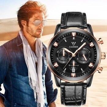 Мужские наручные часы CADISEN, роскошные золотые часы для мужчин, военные спортивные кварцевые часы из нержавеющей стали, 2019