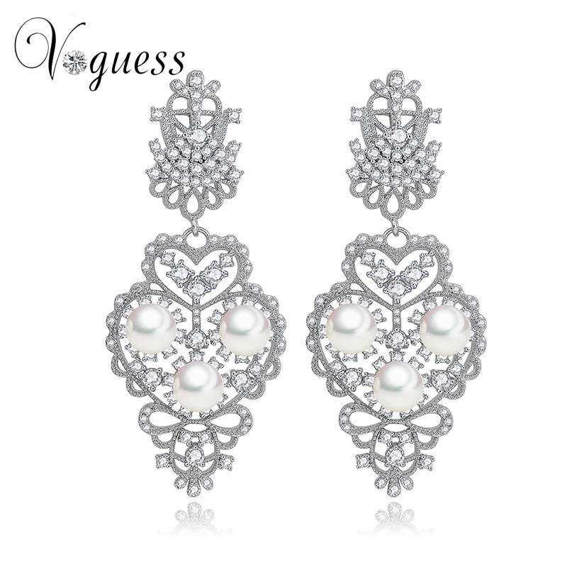 VOGUESS Luxury Pearls Earring Gold Color Dangle Earrings For Women Bijoux Pendientes Aros Perla Brincos Plata Earring