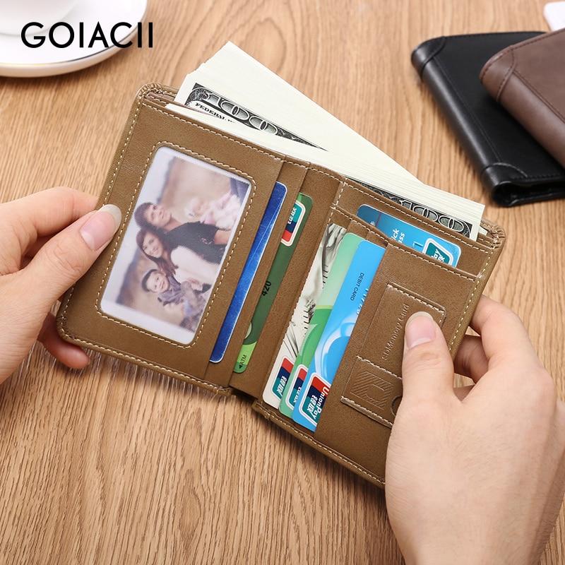 GOIACII 2018 Small Mens Wallet Short Purse Male Genuine Leathe Wallet Men Bifold Large Capacity Slim Wallet Mulit Card Holder