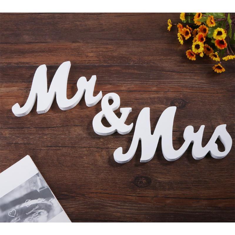 Деревянная Свадьба Приём знак английские буквы знак Mr & Mrs свадебные реквизит стоя вечерние DIY украшение комнаты Таблица декора дома