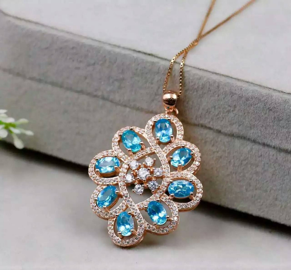 natural blue topaz pendant S925 silver Natural gemstone Pendant Necklace trendy Luxury round string women party