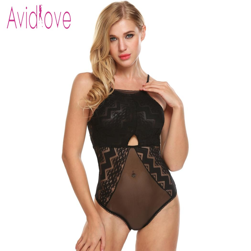 Avidlove Sleepwear Lingerie <font><b>Sexy</b></font> Erotic Hot Body Suit Women Transparent Floral Lace Chemise Teddy <font><b>Bodydoll</b></font> <font><b>Sexy</b></font> Nightwear image