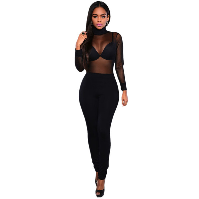 Cfanny 2016 New Fashion Rompers Womens Jumpsuit Sexy Black Mesh Top Turtleneck Long Jumpsuit See Through Overalls Sheer Coverall
