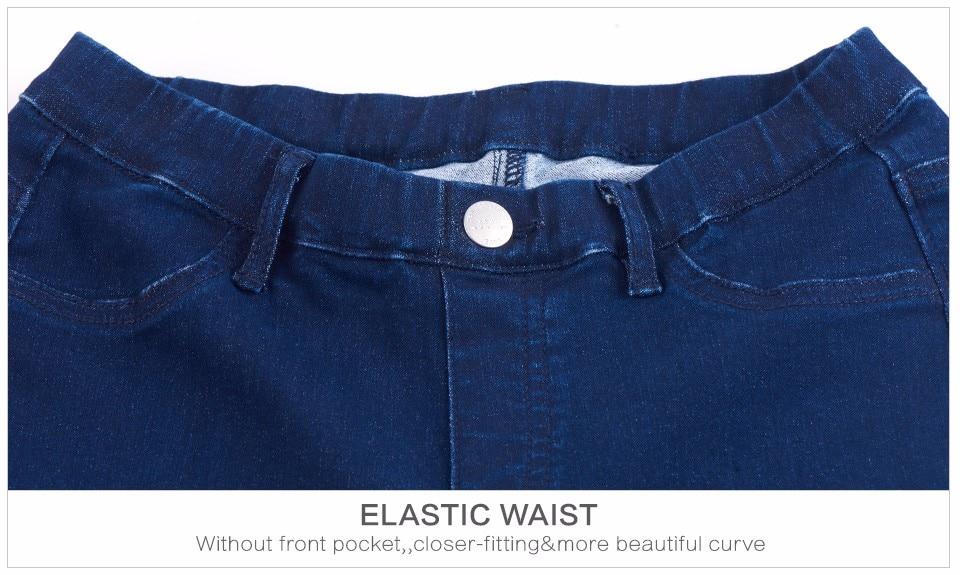 Women Plus Size Casual Slim Stretch Cotton Denim Jeans Blue black 52