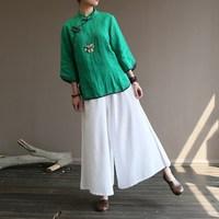 2019 Women Chinese Style Green Blouses Summer Vintage Shirts Oblique Button Cotton Linen Blouse