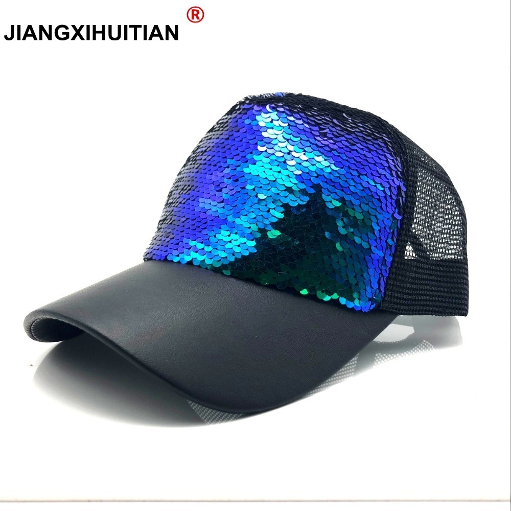 Summer Women   Baseball     Caps   Sequins Mesh   Cap   Adjustable Fashion Hats Snapback Sports Floral Paillette Adjustable Summer Gorras