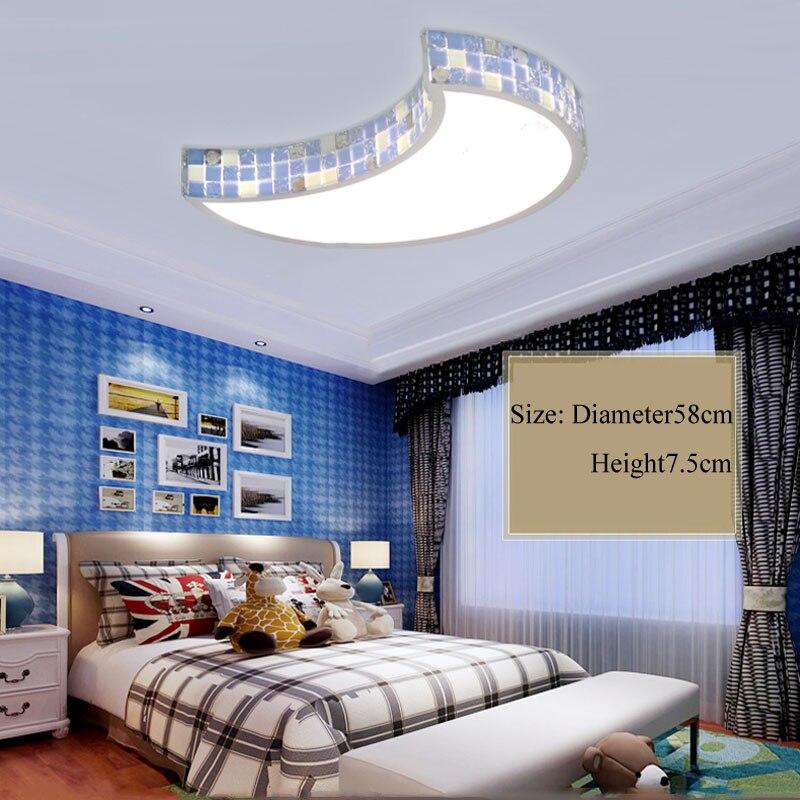 Mediterranean LED Bedroom Ceiling Lamp 36W Led Strips Warm Romantic Girl Princess Children Room Moon Lighting Originality