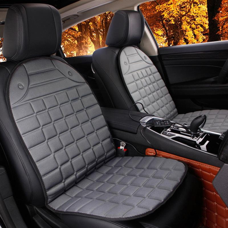 1pc 12V Heated Seat Cushion Safe Van Auto Seat Heated Pad Cushion Cover Car Seat Warmer (Grey)