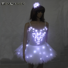 Berhias balet Swan Lake LED TuTu tudung kostum Dewasa LED Balet Skirt Puff Putih Klasik LED Ballet Skirt Pakaian