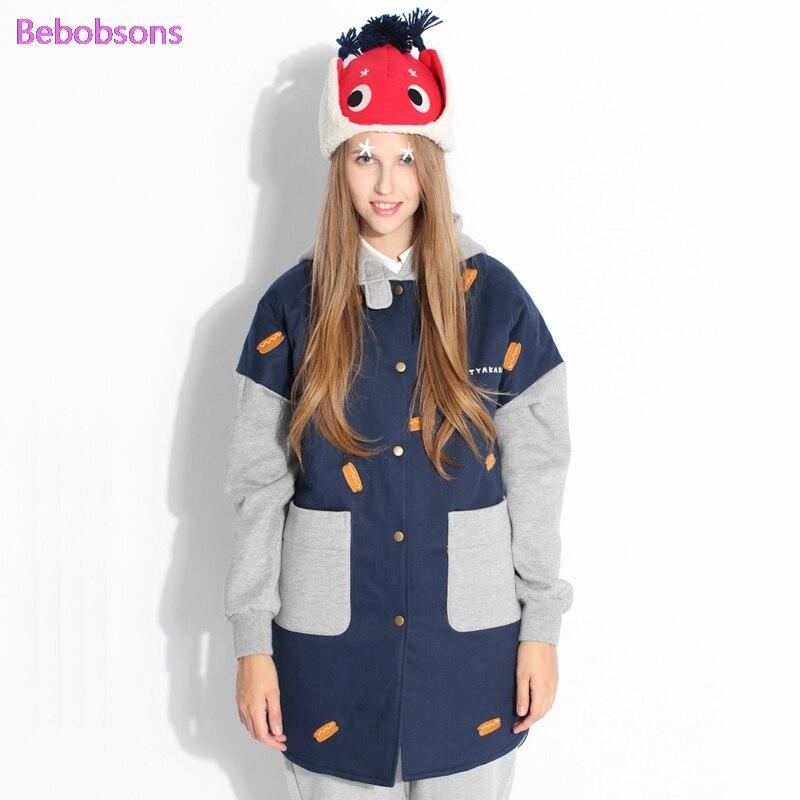 Broderie Chaude Manteaux Splice D'hiver Coton Outwear Épaisse 2017 Lâche Chien Parkas À Chaud Longue Capuchon Bleu Paded Femelle Femmes Nouvelles Veste pzq8Pzx