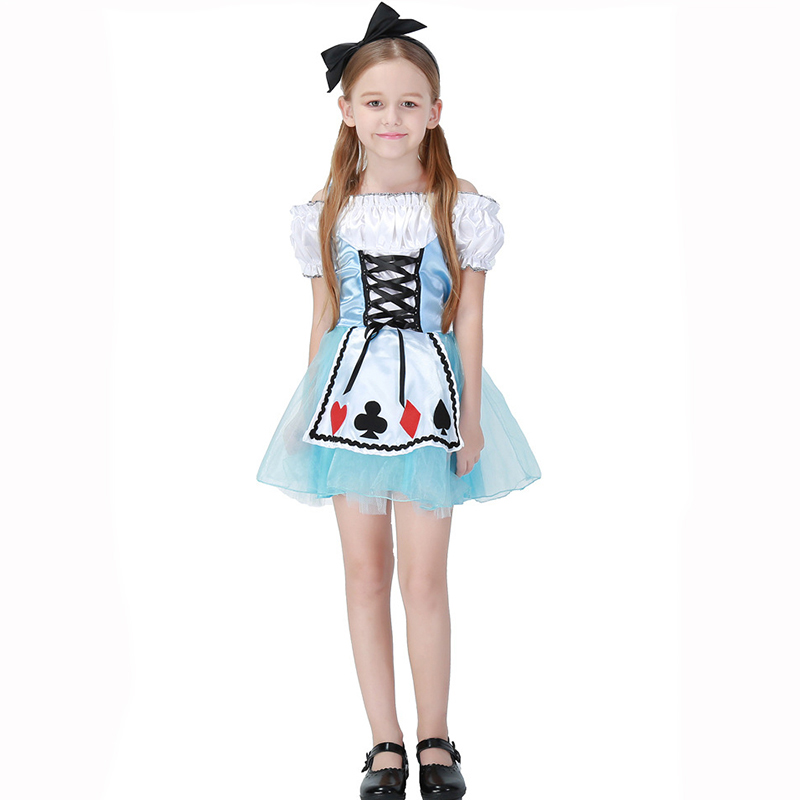 Fairy Tale Role Playing Games Alice In Wonderland Costume Child Cosplay Dress Lolita Uniform Kids Halloween Costumes For Girls image