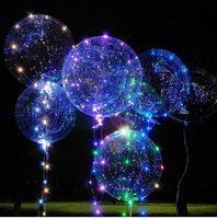 50set 18/24inch Clear Latex Balloon With Led Strip 2M Copper Wire Luminous Led For Wedding Decorations Birthday Party Supplies