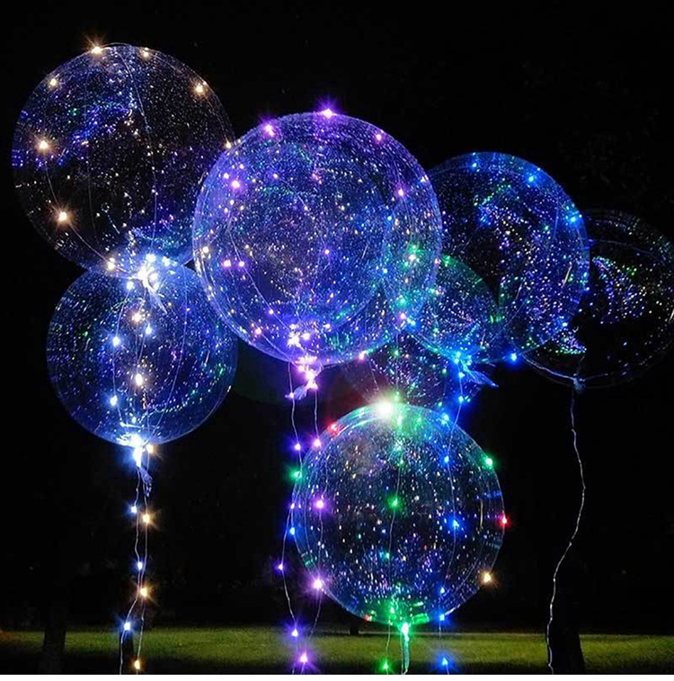 50set 18/24inch Clear Latex Balloon With Led Strip 3M Copper Wire Luminous Led For Wedding Decorations Birthday Party Supplies